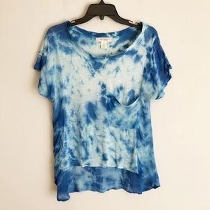 Band of Gypsies Blue Tie Dye Pocket Tee